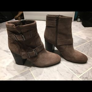 Vince Camuto suede ankle boot with buckle
